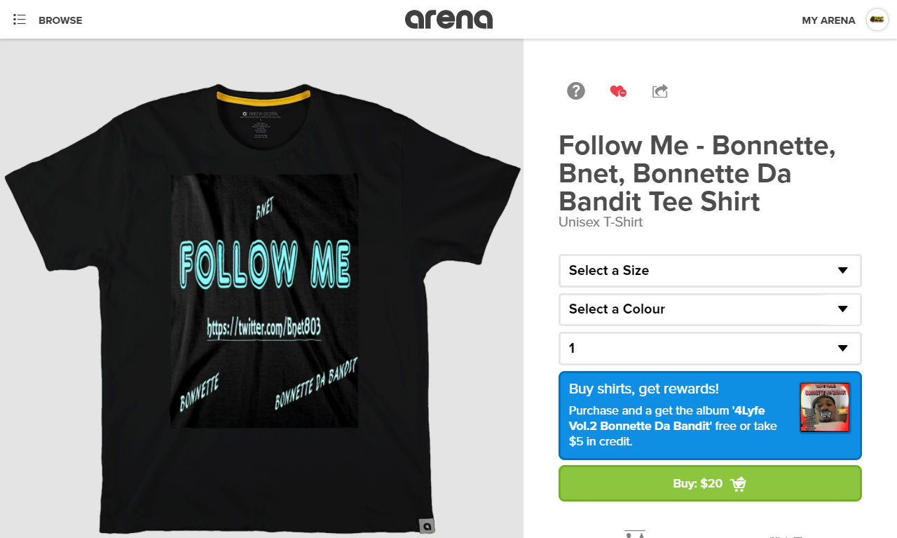 Follow Me Tee https://arena.com/bonnette/follow-me-bonnette-bnet-bonnette-da-bandit-tee-shirt
