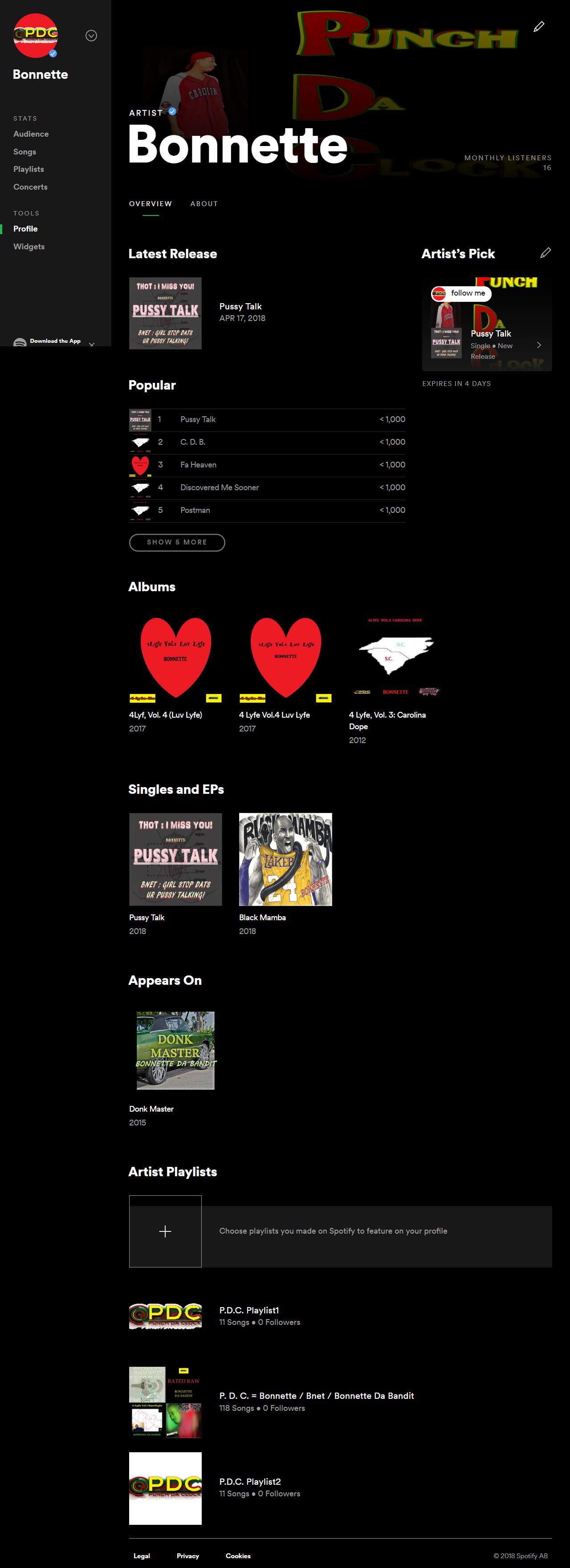 Bonnette Artist Profile – Spotify https://open.spotify.com/user/bnet803/playlist/0vTdPtwwpD3aR6ENSn6Ggj?si=EylVGLLZRZeSQCUhi1Y-oQ