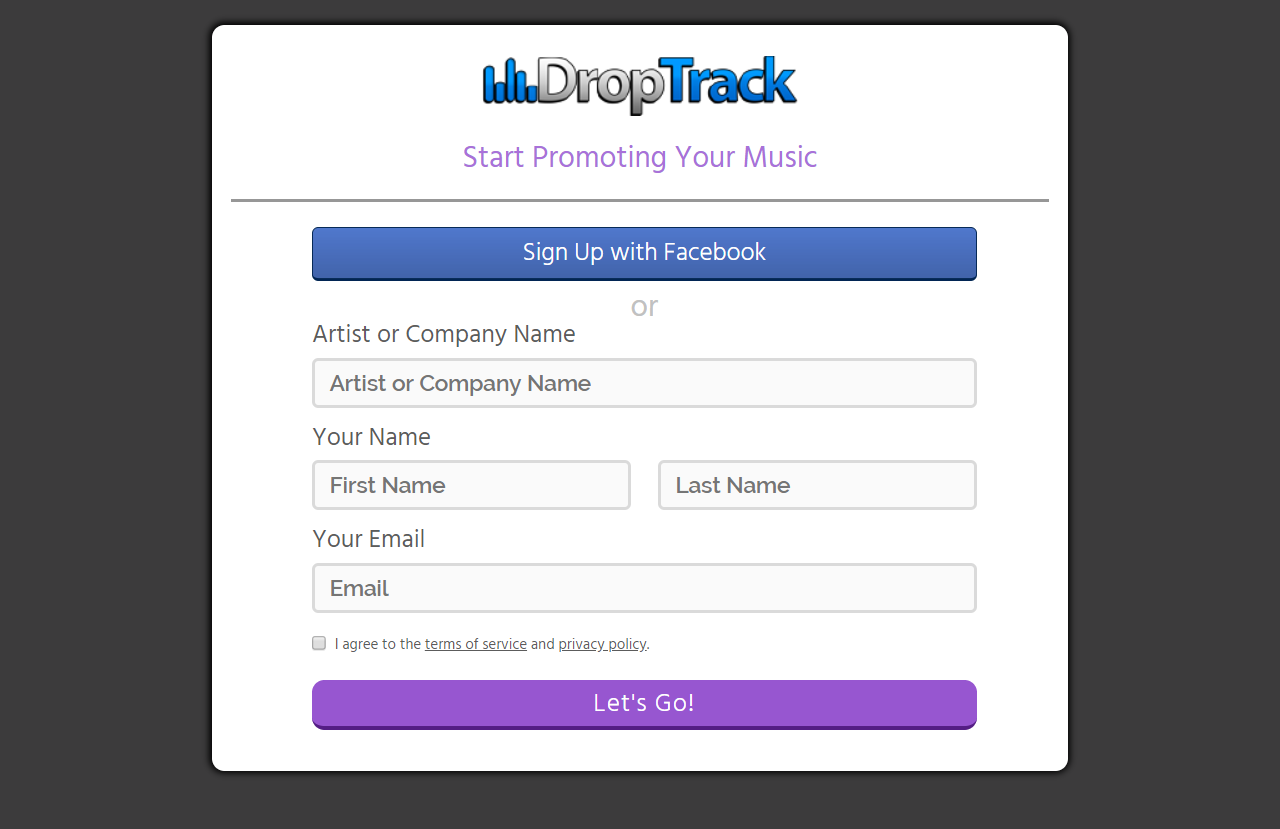 Sign Up - DropTrack