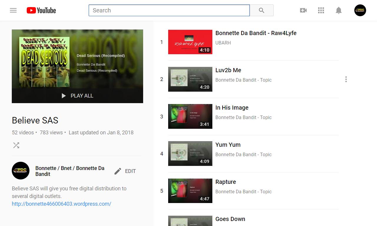 Believe SAS - YouTube - Bonnette / Bnet / Bonnette Da Bandit