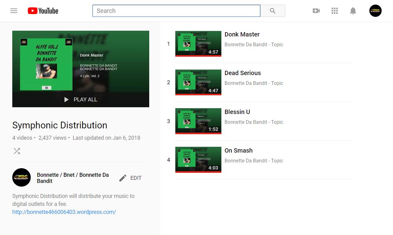 Symphonic Distribution - YouTube Bonnette