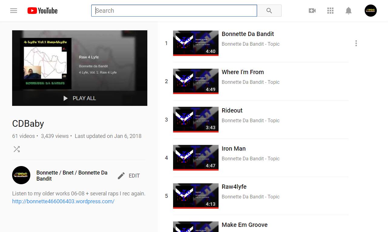 CDBaby - YouTube - Bonnette / Bnet / Bonnette Da Bandit